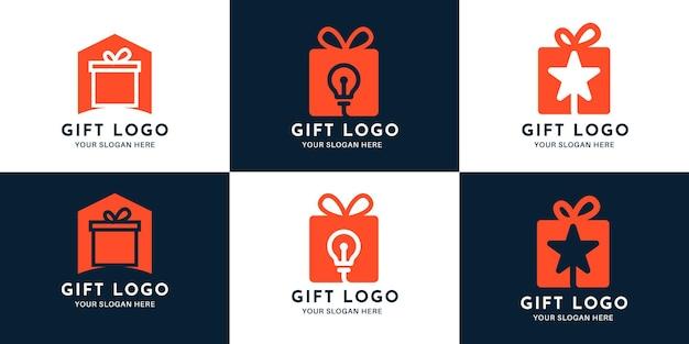 Conjunto de design de logotipo de combinação de caixa de presente