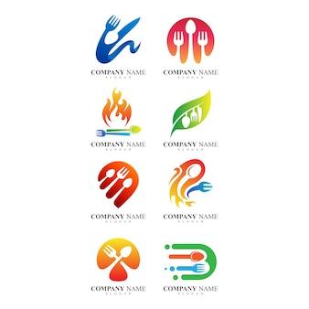 Conjunto de design de logotipo de comida e restaurante Vetor Premium