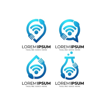 Conjunto de design de logotipo de comida inteligente