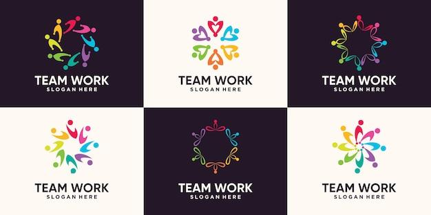 Conjunto de design de logotipo de comunidade de trabalho em equipe com conceito criativo moderno