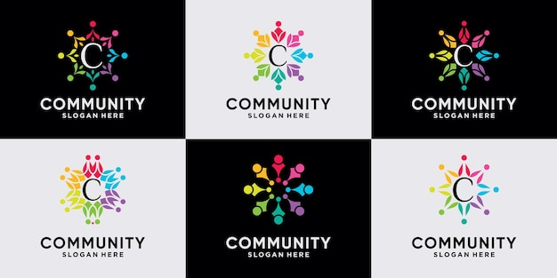 Conjunto de design de logotipo de comunidade para equipe e família de pessoas com conceito único premium vector