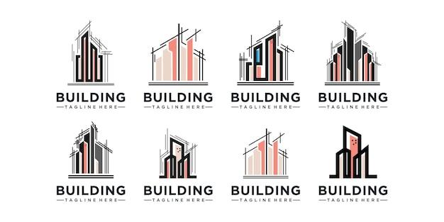 Conjunto de design de logotipo de construção civil. construção de inspiração de arquitetura de design de logotipo. logotipo da imobiliária, desenhos de ícones vetoriais