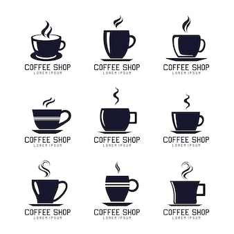 Conjunto de design de logotipo de copo de café