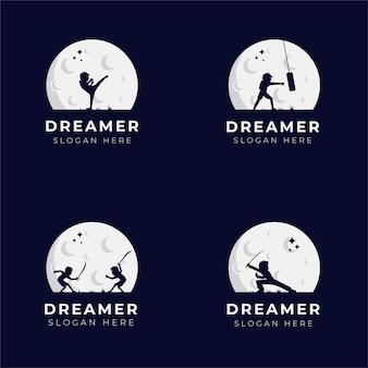 Conjunto de design de logotipo de criança sonhadora