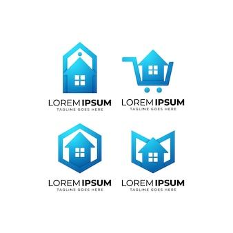 Conjunto de design de logotipo de edifícios e imóveis