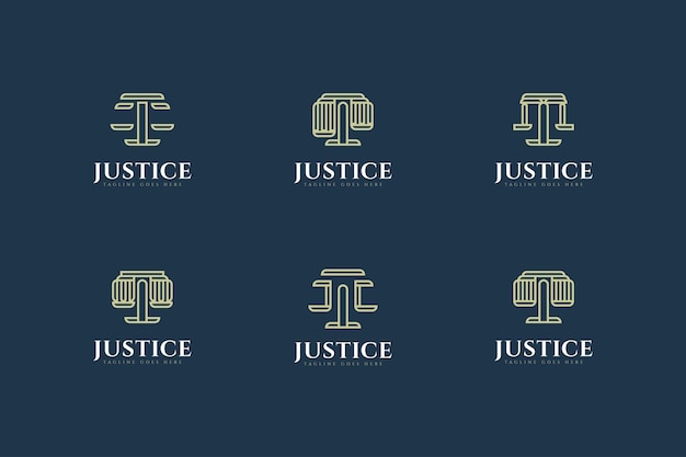 Conjunto de design de logotipo de escritório de advocacia em estilo de linha