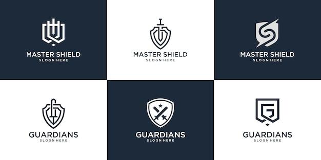 Conjunto de design de logotipo de escudo abstrato. o logotipo criativo pode ser usado para empresa, produto, etc.