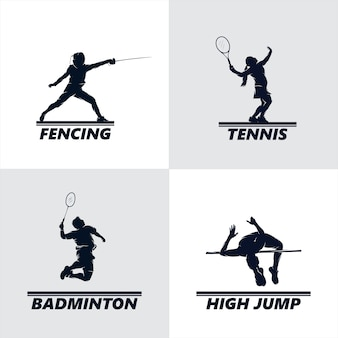 Conjunto de design de logotipo de esporte