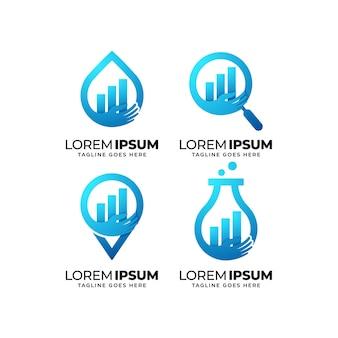 Conjunto de design de logotipo de estatística de dados