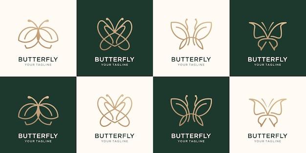 Conjunto de design de logotipo de estilo de arte de linha minimalista de borboleta