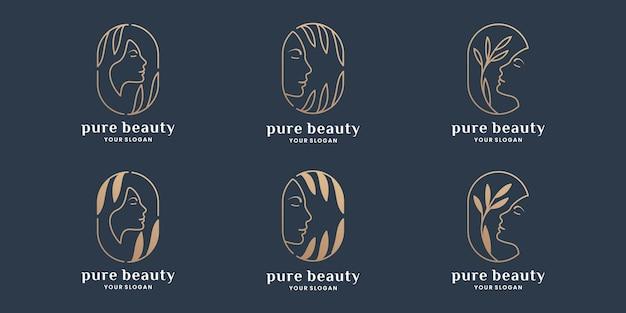 Conjunto de design de logotipo de etiqueta de produto de pura beleza, folha, natureza