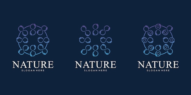 Conjunto de design de logotipo de flor da natureza