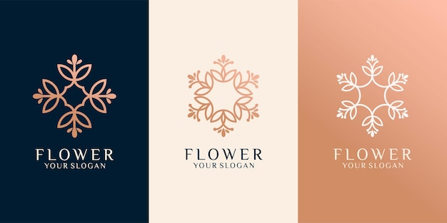 Conjunto de design de logotipo de flor de arte de linha de luxo premium vector