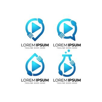 Conjunto de design de logotipo de food service