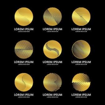 Conjunto de design de logotipo de forma redonda de ouro dourado