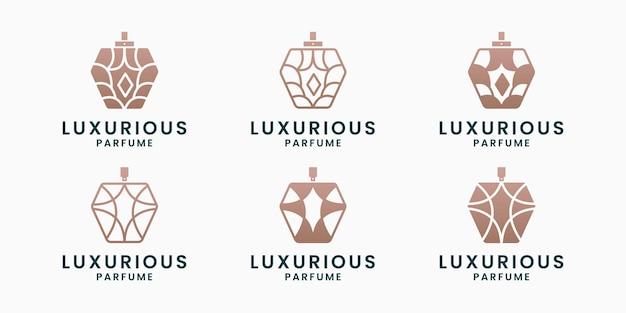Conjunto de design de logotipo de frasco de perfume de luxo, moda, cosmético