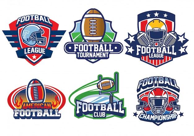 Conjunto de design de logotipo de futebol americano