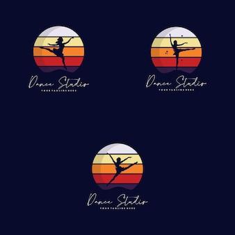 Conjunto de design de logotipo de ginástica colorido