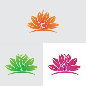 Conjunto de design de logotipo de ginástica