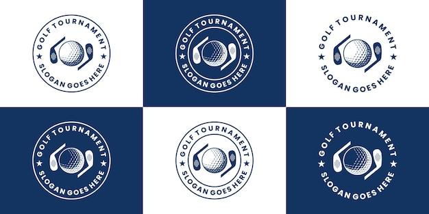 Conjunto de design de logotipo de golfe distintivo estilo retro