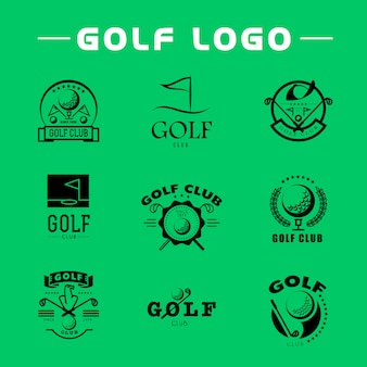 Conjunto de design de logotipo de golfe plana