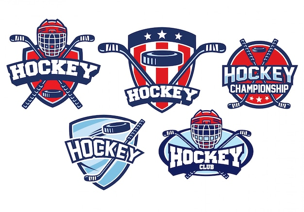 Conjunto de design de logotipo de hóquei