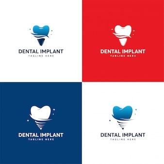 Conjunto de design de logotipo de implante dentário, modelo de logotipo de atendimento odontológico