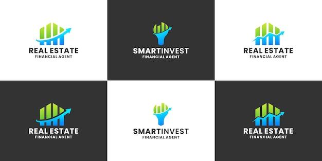 Conjunto de design de logotipo de investimento inteligente para empresa financeira e contábil