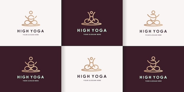 Conjunto de design de logotipo de ioga com a letra ghj