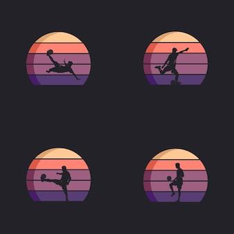 Conjunto de design de logotipo de jogador de futebol em ação