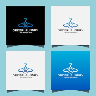 Conjunto de design de logotipo de lavanderia de ideia criativa