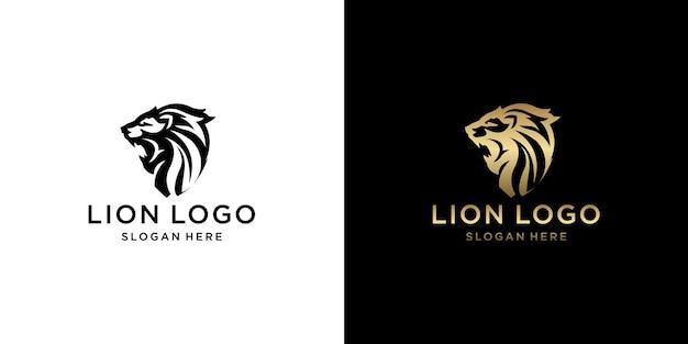 Conjunto de design de logotipo de leão com monograma de ouro