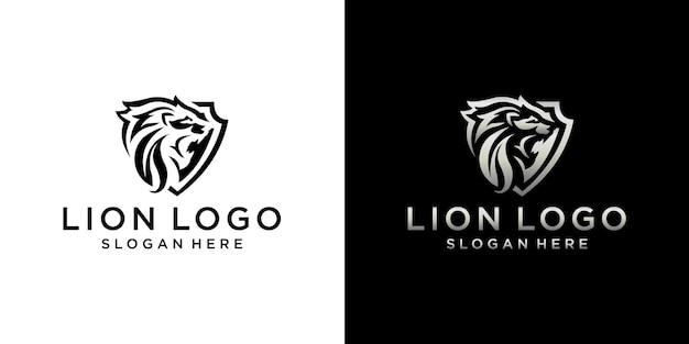 Conjunto de design de logotipo de leão com monograma