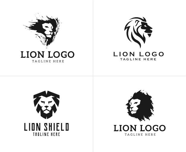 Conjunto de design de logotipo de leão de cabeça