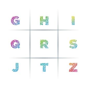 Conjunto de design de logotipo de letra de letra de partículas