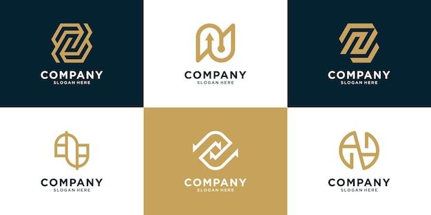 Conjunto de design de logotipo de letra n criativo inicial logotipo monograma para negócios de moda