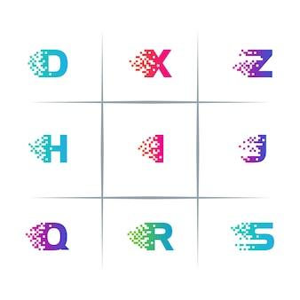 Conjunto de design de logotipo de letras alfabéticas digitais