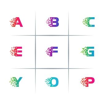 Conjunto de design de logotipo de letras digitais