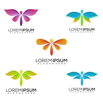 Conjunto de design de logotipo de libélula