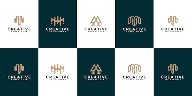 Conjunto de design de logotipo de linha da letra m. monograma monocromático mínimo criativo linear