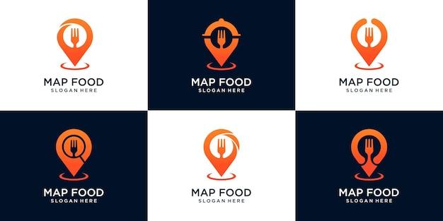 Conjunto de design de logotipo de localização de alimentos, com conceito de pino, garfo, lupa e cartão de visita premium vector