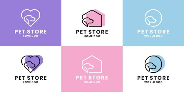 Conjunto de design de logotipo de loja de animais. amor de cachorro, casinha de cachorro, logotipo do mundo do cachorro