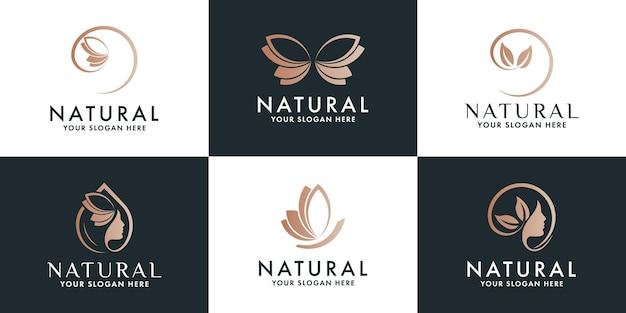 Conjunto de design de logotipo de luxo de beleza e logotipo de bem-estar