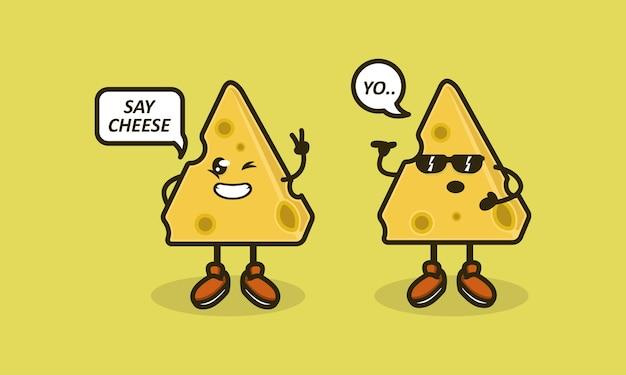 Conjunto de design de logotipo de mascote de queijo fofo
