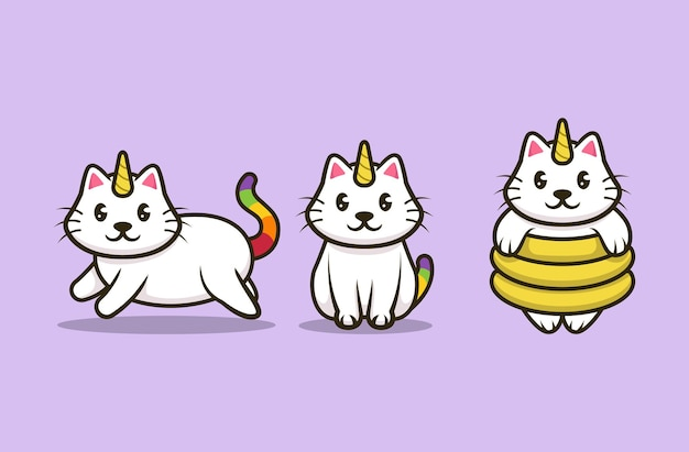 Conjunto de design de logotipo de mascote de unicórnio de gato fofo