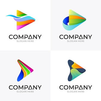 Conjunto de design de logotipo de mídia seta
