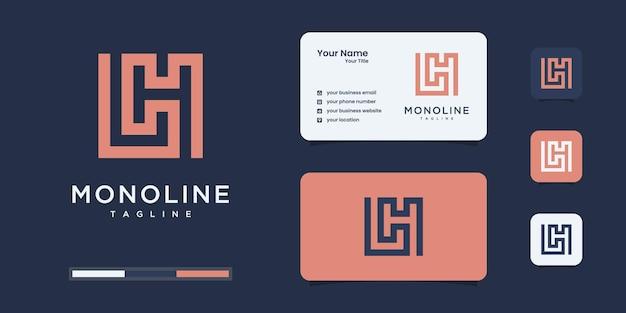 Conjunto de design de logotipo de monograma abstrato inicial l & h ou lh, ícones para negócios ou branding.