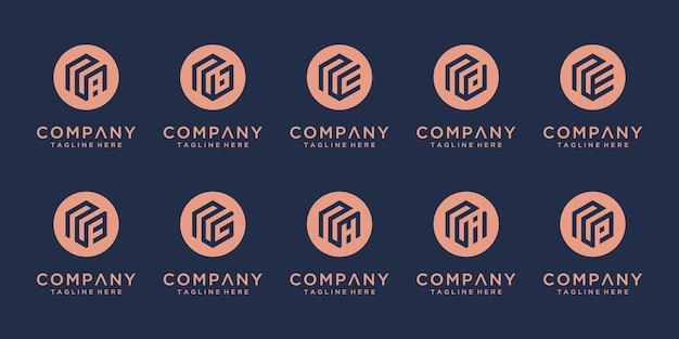 Conjunto de design de logotipo de monograma abstrato inicial ne etc, negócios de ícones de luxo, elegante e aleatório.