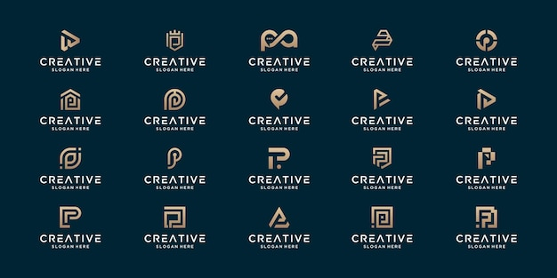 Conjunto de design de logotipo de monograma abstrato p inicial de luxo.