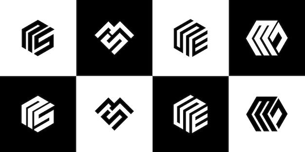 Conjunto de design de logotipo de monograma criativo
